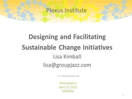 Designing and Facilitating Sustainable Change Initiatives Lisa Kimball Minneapolis April 13, 2012 MNODN 1 Plexus Institute