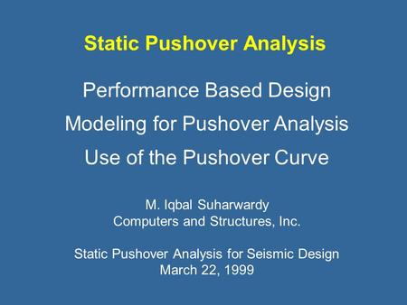Static Pushover Analysis