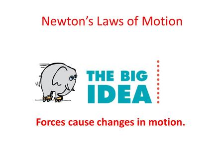 Newton's Laws of Motion Forces cause changes in motion.