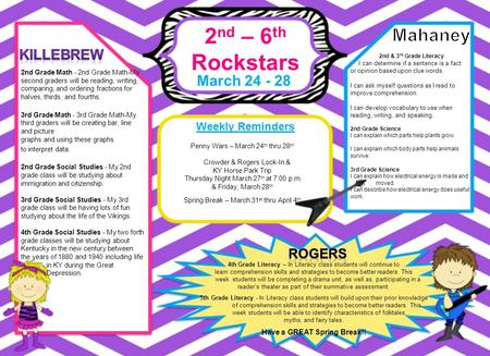 2 nd – 6 th Rockstars March 24 - 28 Weekly Reminders 4th Grade Literacy – In Literacy class students will continue to learn comprehension skills and strategies.