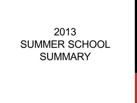 2013 SUMMER SCHOOL SUMMARY. DISTRICT DETAILS Summer school offered at 14 building locations Session schedule: 20 days, June 3-28, 2013 Session hours: