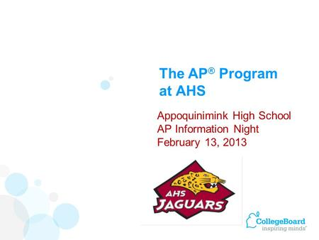 The AP ® Program at AHS Appoquinimink High School AP Information Night February 13, 2013.