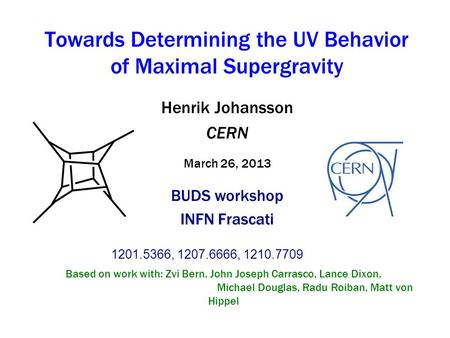 Henrik Johansson CERN March 26, 2013 BUDS workshop INFN Frascati Henrik Johansson CERN March 26, 2013 BUDS workshop INFN Frascati 1201.5366, 1207.6666,