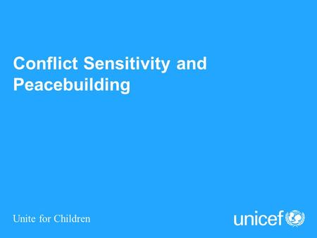 Conflict Sensitivity and Peacebuilding