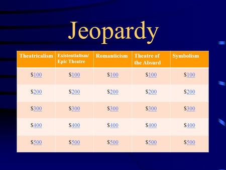 Jeopardy Theatricalism Existentialism/ Epic Theatre RomanticismTheatre of the Absurd Symbolism $100100$100100$100100$100100$100100 $200200$200200$200200$200200$200200.