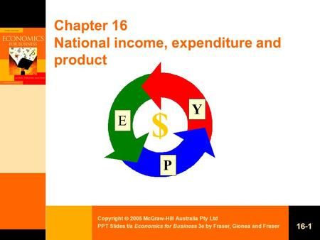 Copyright  2005 McGraw-Hill Australia Pty Ltd PPT Slides t/a Economics for Business 3e by Fraser, Gionea and Fraser 16-1 Chapter 16 National income, expenditure.