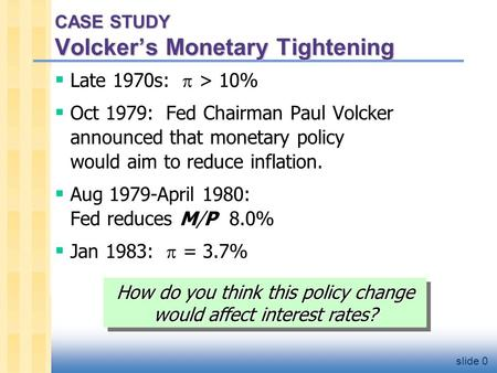 Slide 0 CASE STUDY Volcker's Monetary Tightening  Late 1970s:  > 10%  Oct 1979: Fed Chairman Paul Volcker announced that monetary policy would aim to.