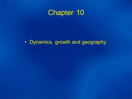 Chapter 10 Dynamics, growth and geography. Long term equilibrium adjustment: dλ i /λ i = η(w i – ω) Value of η sets the speed of adjustment but in general.
