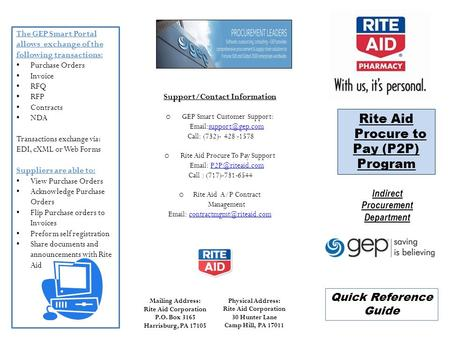 Rite Aid Procure to Pay (P2P) Program Quick Reference Guide The GEP Smart Portal allows exchange of the following transactions: Purchase Orders Invoice.