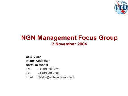 NGN Management Focus Group 2 November 2004 Dave Sidor Interim Chairman Nortel Networks Tel.+1 919 997 3628 Fax+1 919 991 7085