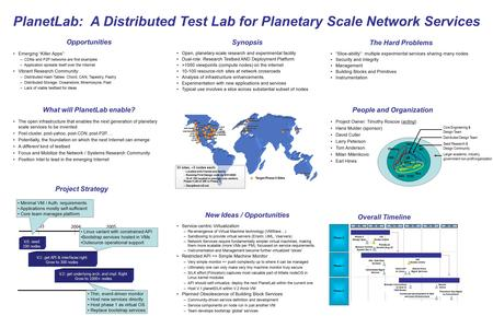 "PlanetLab: A Distributed Test Lab for Planetary Scale Network Services Opportunities Emerging ""Killer Apps"": –CDNs and P2P networks are first examples."