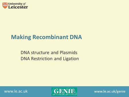 Www.le.ac.uk Making Recombinant DNA DNA structure and Plasmids DNA Restriction and Ligation www.le.ac.uk/genie.