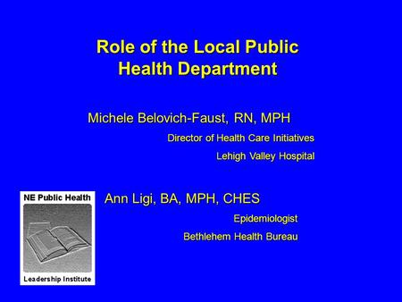 Role of the Local Public Health Department Michele Belovich-Faust, RN, MPH Director of Health Care Initiatives Lehigh Valley Hospital Ann Ligi, BA, MPH,