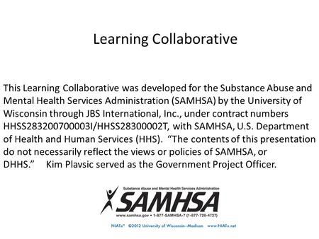 Business Practices for the Future Learning Collaborative Fee-for-Service, Cohort II This Learning Collaborative was developed for the Substance Abuse and.