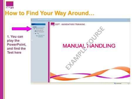 How to Find Your Way Around… 1. You can play the PowerPoint, and find the Test here EXAMPLE COURSE.