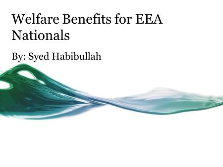 Welfare Benefits for EEA Nationals By: Syed Habibullah.
