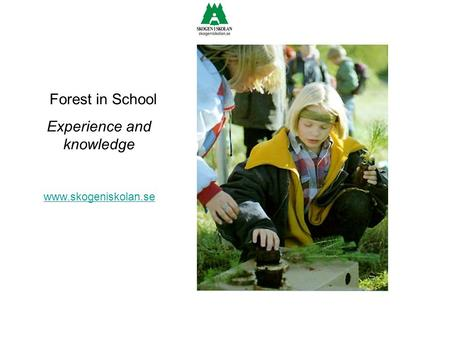 Forest in School Experience and knowledge www.skogeniskolan.se.