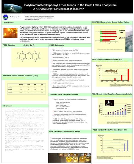Polybrominated Diphenyl Ether Trends in the Great Lakes Ecosystem A new persistent contaminant of concern? Frederick Luckey New York State Department of.
