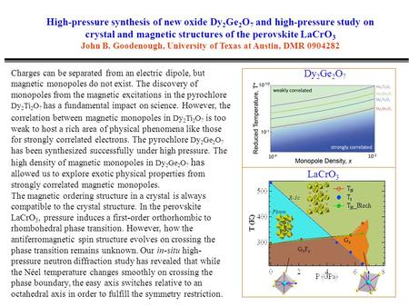 High-pressure synthesis of new oxide Dy 2 Ge 2 O 7 and high-pressure study on crystal and magnetic structures of the perovskite LaCrO 3 John B. Goodenough,