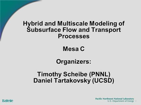 Hybrid and Multiscale Modeling of Subsurface Flow and Transport Processes Mesa C Organizers: Timothy Scheibe (PNNL) Daniel Tartakovsky (UCSD) 1.