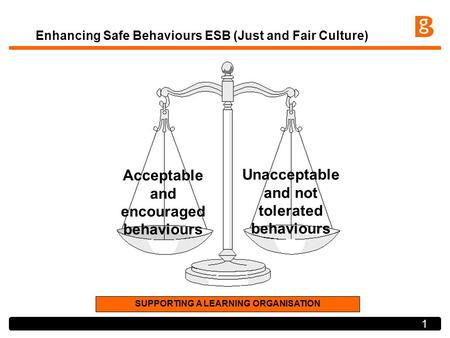 1 Enhancing Safe Behaviours ESB (Just and Fair Culture) Acceptable and encouraged behaviours Unacceptable and not tolerated behaviours SUPPORTING A LEARNING.