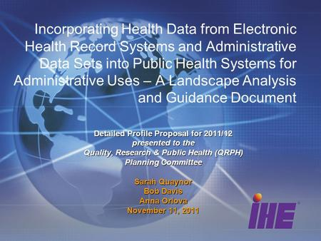 Incorporating Health Data from Electronic Health Record Systems and Administrative Data Sets into Public Health Systems for Administrative Uses – A Landscape.