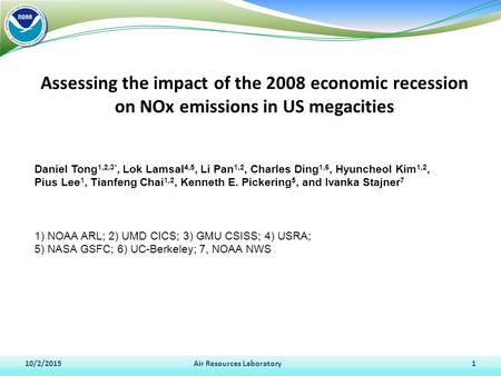 Assessing the impact of the 2008 economic recession on NOx emissions in US megacities 10/2/2015Air Resources Laboratory1 Daniel Tong 1,2,3*, Lok Lamsal.