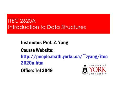 ITEC 2620A Introduction to Data Structures
