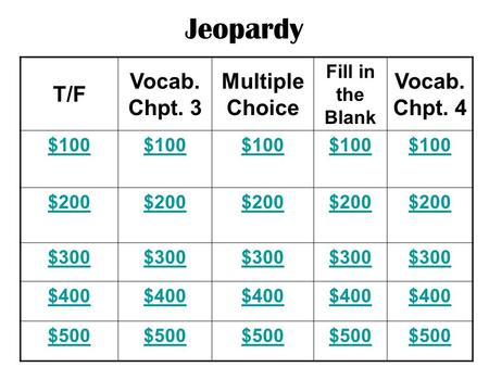 Jeopardy T/F Vocab. Chpt. 3 Multiple Choice Fill in the Blank Vocab. Chpt. 4 $100 $200 $300 $400 $500.