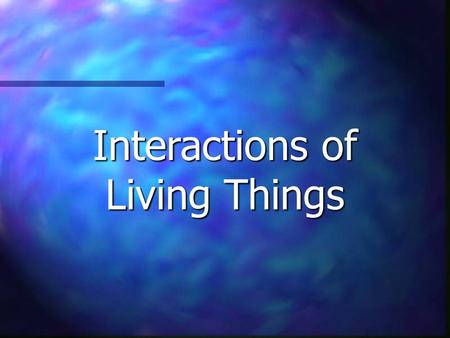 Interactions of Living Things. Environment Living Things Energy Types of Interactions Misc. $100 $200 $300 $400 $500.