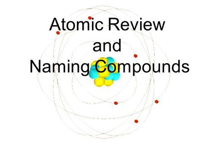 Atomic Review and Naming Compounds. Electron (e - ) orbit/energylevel Proton (p + ) Neutron (n 0 ) nucleus.