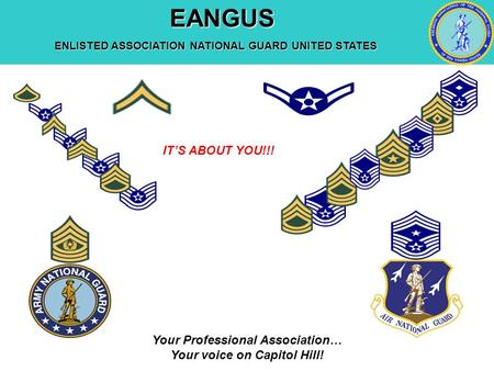 EANGUS EANGUS ENLISTED ASSOCIATION NATIONAL GUARD UNITED STATES Your Professional Association… Your voice on Capitol Hill! IT'S ABOUT YOU!!!