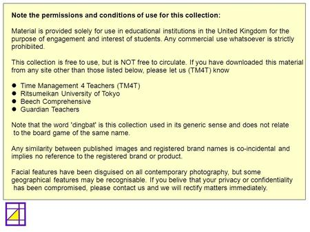 Note the permissions and conditions of use for this collection: Material is provided solely for use in educational institutions in the United Kingdom for.