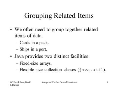 Grouping Related Items