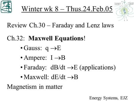 Winter wk 8 – Thus.24.Feb.05 Review Ch.30 – Faraday and Lenz laws Ch.32: Maxwell Equations! Gauss: q  E Ampere: I  B Faraday: dB/dt  E (applications)