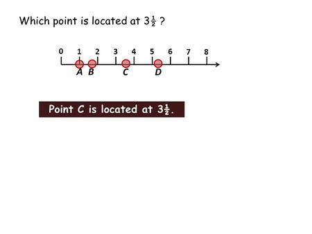 Which point is located at 3½ ? 1 2 3 4 5 6 7 8 0 A B CD Point C is located at 3½.