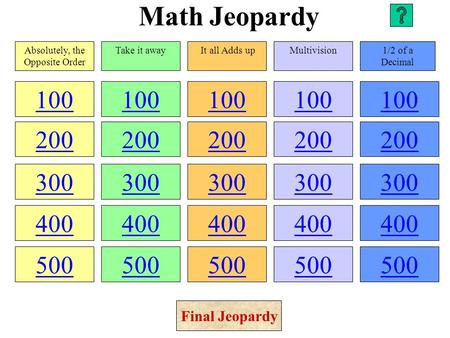 Math Jeopardy 100 200 300 400 500 100 200 300 400 500 100 200 300 400 500 100 200 300 400 500 100 200 300 400 500 Absolutely, the Opposite Order Take.