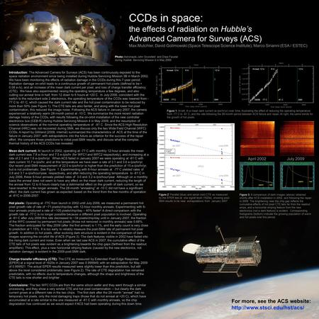CCDs in space: the effects of radiation on Hubble's Advanced Camera for Surveys (ACS) Max Mutchler, David Golimowski (Space Telescope Science Institute),