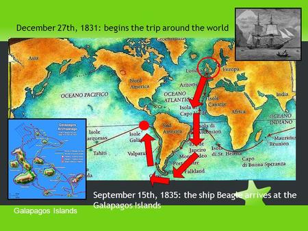 December 27th, 1831: begins the trip around the world September 15th, 1835: the ship Beagle arrives at the Galapagos Islands Galapagos Islands.
