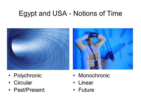 Egypt and USA - Notions of Time Polychronic Circular Past/Present Monochronic Linear Future.