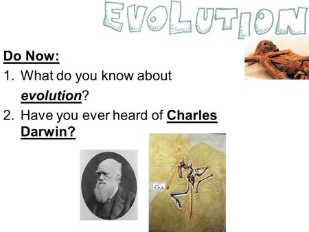Do Now: 1.What do you know about evolution? 2.Have you ever heard of Charles Darwin?