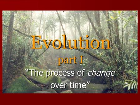 "Evolution part I ""The process of change over time"""