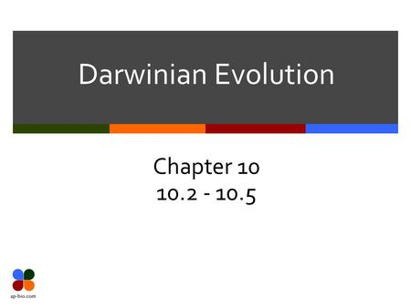 Darwinian Evolution Chapter 10 10.2 - 10.5. Slide 2 of 20 Galapagos Islands  Darwin visited the Galapagos Islands  He formed his ideas about natural.