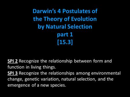 Darwin's 4 Postulates of the Theory of Evolution by Natural Selection part 1 [15.3] SPI 2 Recognize the relationship between form and function in living.