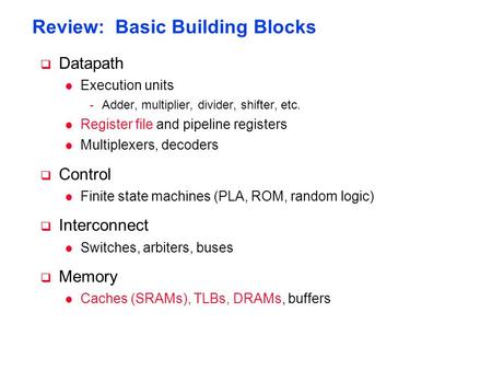 Review: Basic Building Blocks  Datapath l Execution units -Adder, multiplier, divider, shifter, etc. l Register file and pipeline registers l Multiplexers,