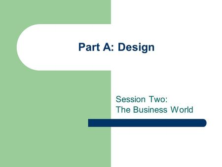 Part A: Design Session Two: The Business World. Objectives Define and explain the function of a business Identify the characteristics of a good company.