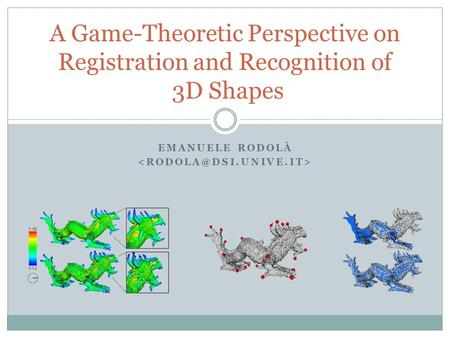 EMANUELE RODOLÀ A Game-Theoretic Perspective on Registration and Recognition of 3D Shapes.