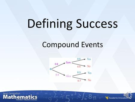 Compound Events Defining Success In this lesson you will… find probabilities of compound events using organized lists, tables, tree diagrams, and simulation.