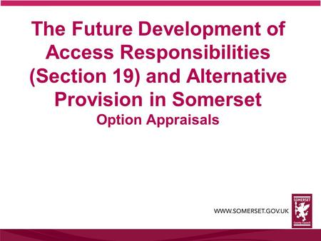 The Future Development of Access Responsibilities (Section 19) and Alternative Provision in Somerset Option Appraisals.