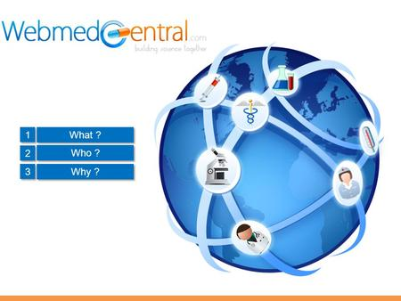 1 1 2 2 3 3 What ? Who ? Why ?. What is WebmedCentral? Webmed Limited is a unique biomedical publishing company with a twin approach to scientific publishing.